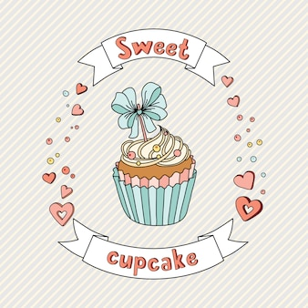 Sweet cupcake on delicate background. cupcake collection