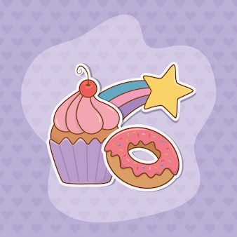 Sweet cupcake and donut stickers kawaii style
