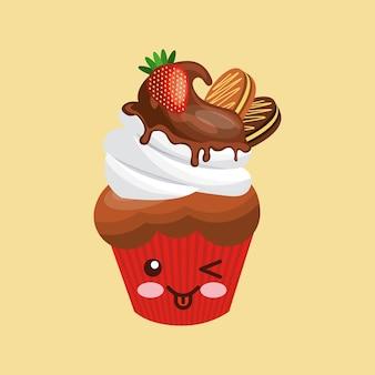 甘いカップケーキのアイコンデザイン