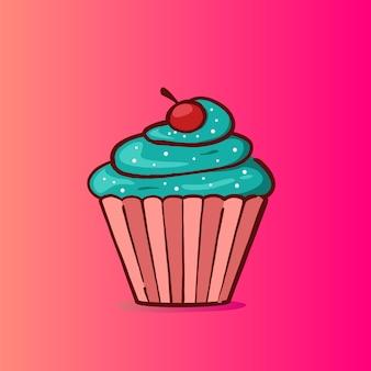 ミントフレーバーの甘いカップケーキのイラスト