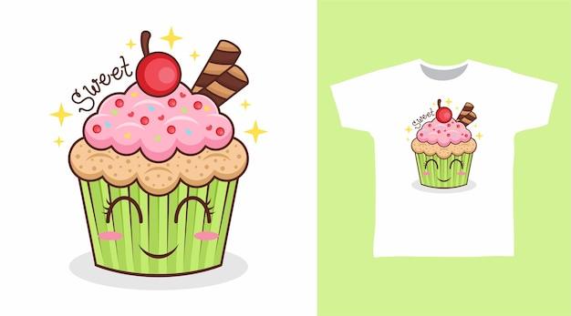 桜の漫画のtシャツのデザインと甘いカップケーキ