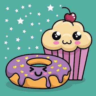 Sweet cupcake with donut kawaii character