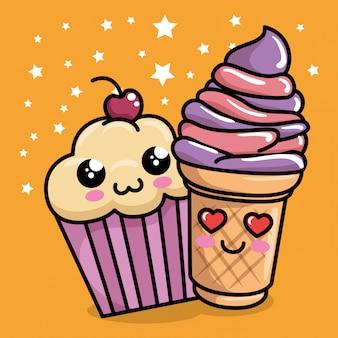 Sweet cupcake with ice cream kawaii character