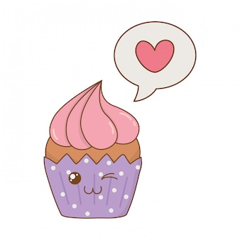 Sweet cupcake with speech bubble heart kawaii character