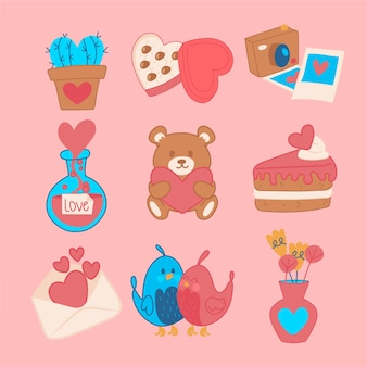 甘いカップケーキとオブジェクトバレンタイン要素セット