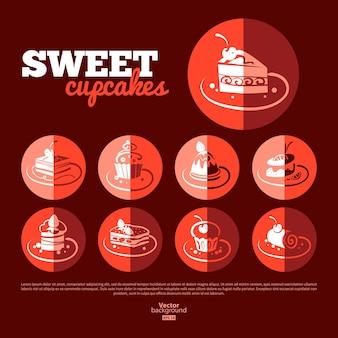Sweet cupcakes. flat icon set. menu design