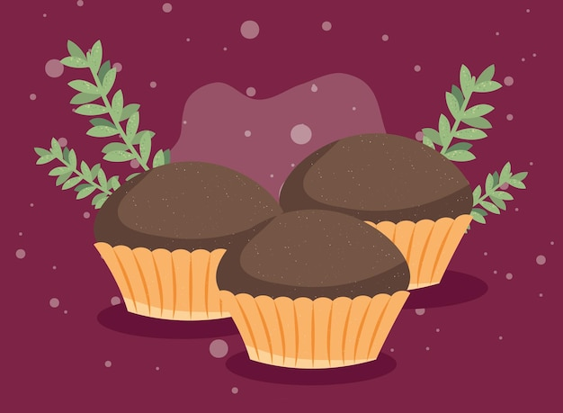 Sweet cupcakes and leafs