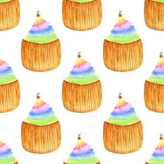 체리와 달콤한 컵 케이크입니다. 원활한 벡터 패턴입니다. 손으로 그린 무지개 수채화 그림.