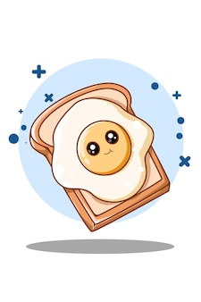 Sweet and cute bread with egg cartoon illustration