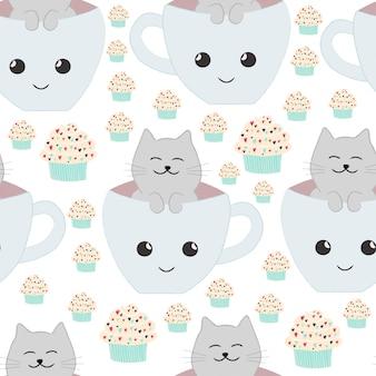 Sweet cute cake seamless pattern