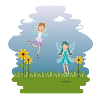 Sweet and cute fairy cartoon