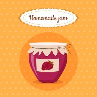 Sweet cute jam jar homemade strawberry dessert food vector illustration on yellow background for poster, postcard, menu