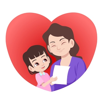 Sweet daughter giving a letter or card to her mother in the heart shape