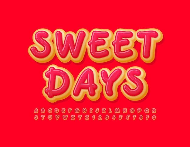 Sweet days 밝은 필기체 글꼴 도넛 알파벳 문자와 숫자 세트
