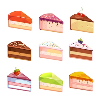 Sweet delicious cake slices pieces vector icons. dessert of piece, snack with chocolate cream illust