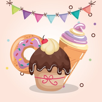 Sweet and delicious cupcake with donut and ice cream