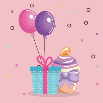 Sweet and delicious cupcake with gift and balloons