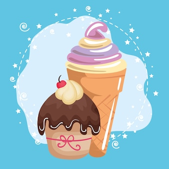 Sweet and delicious cupcake with ice-cream birthday card