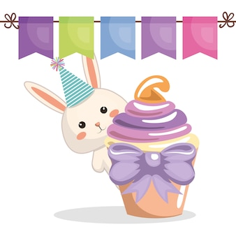 Sweet and delicious cupcake with rabbit
