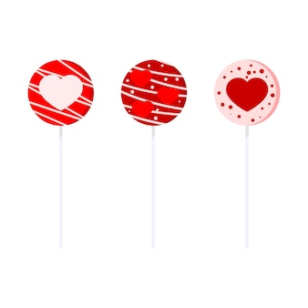 Sweet and delicious lollipops collection flat cartoon style illustration