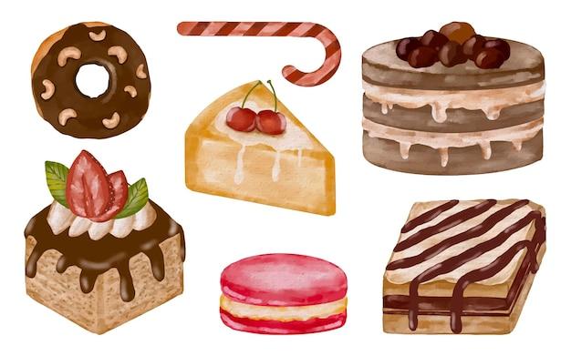 Сладкий десерт торт акварель ручная роспись коллекции иллюстрации