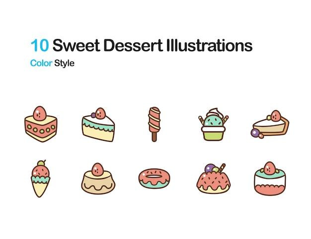 Sweet and dessert color illustration
