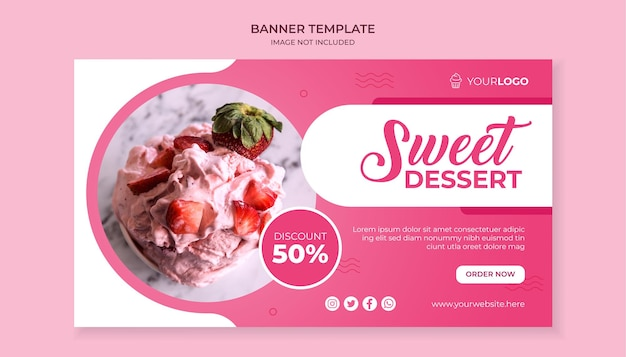 Sweet dessert food banner template