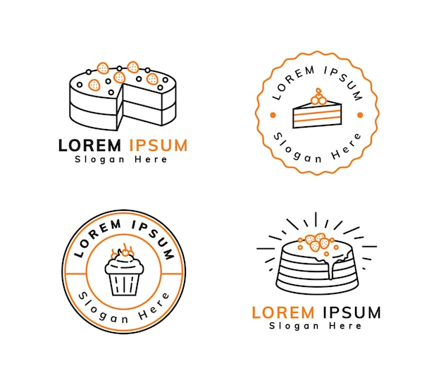 アウトラインの甘いデザートのロゴデザイン