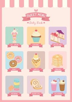 Sweet dessert menu cafe