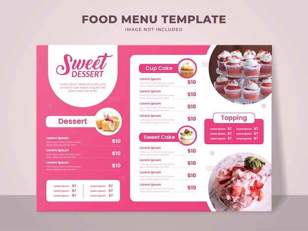케이크 가게를위한 달콤한 디저트 메뉴 템플릿