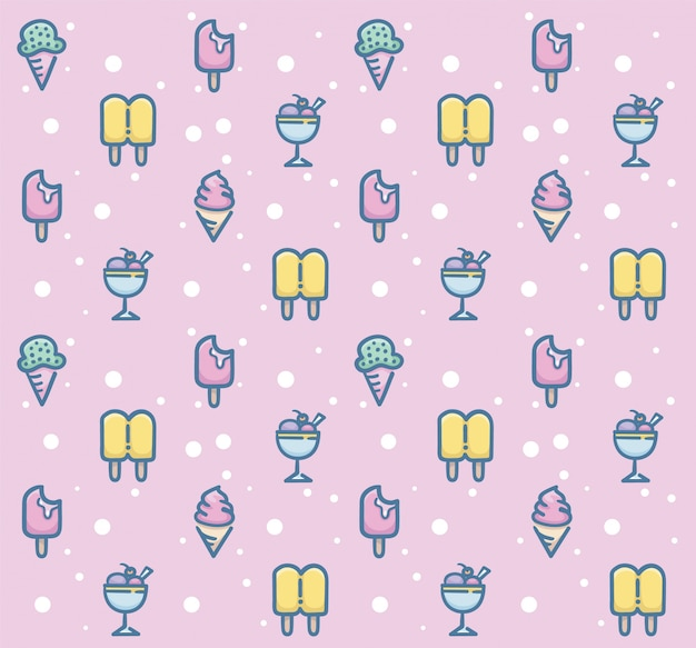 Sweet dessert seamless pattern design
