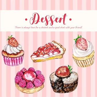 Sweet dessert set watercolor illustration