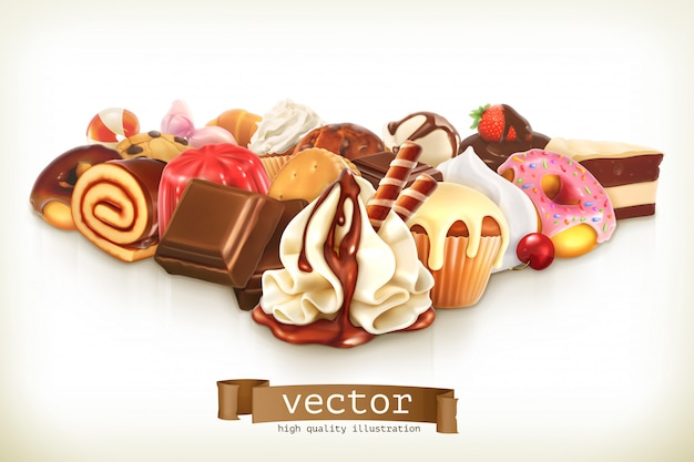 Sweet dessert with chocolate, confectionery illustration