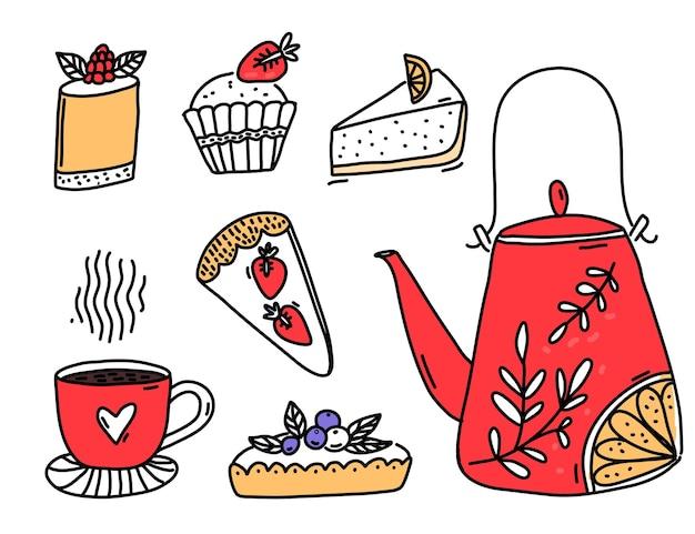 甘いデザートと赤いティーポットは、ベリーと焼きたてのペストリーとチーズケーキのタルトを落書きします
