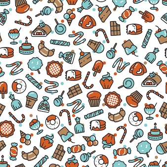 Sweet desserts candies bakery cakes seamless pattern