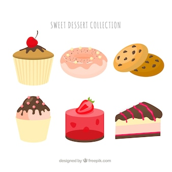 Sweet desserts collection in 2d style