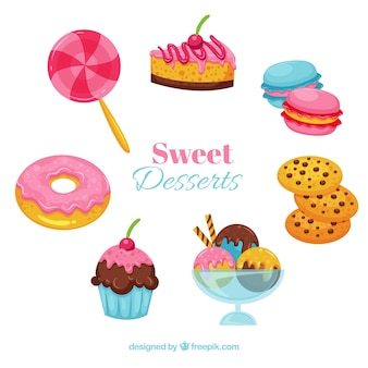 Sweet desserts collection in hand drawn style