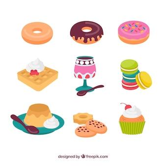 Коллекция сладких десертов в плоском стиле