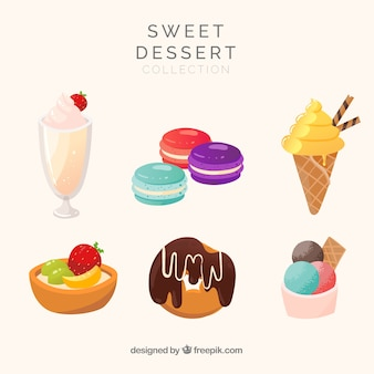 Sweet desserts collection in flat style