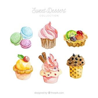 Коллекция сладких десертов в акварельном стиле