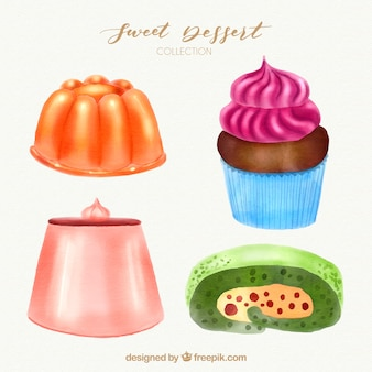 Sweet desserts collection in watercolor style