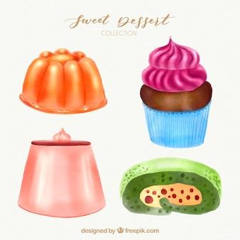 Collezione di dolci dessert in stile acquerello