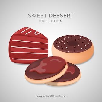 Dolce collezione di dessert con cioccolato