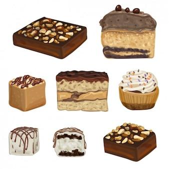 Sweet desserts Free Vector