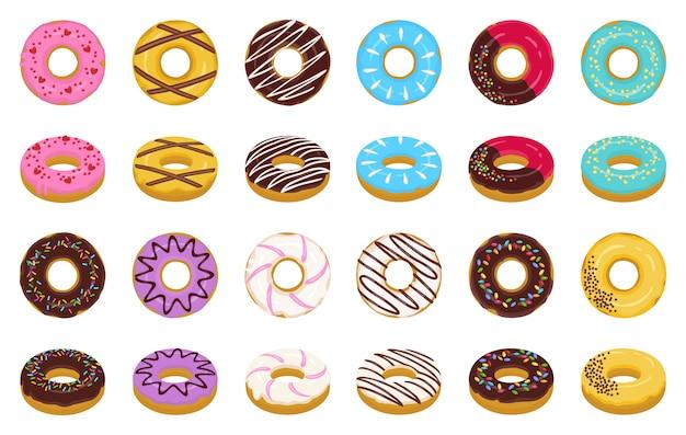 Сладкий пончик мультфильм векторный набор иконок. изолированные значок шоколад и сливки донут. векторная иллюстрация пончик брызгает десерт.