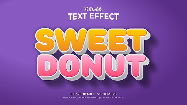 Sweet donut editable text effects