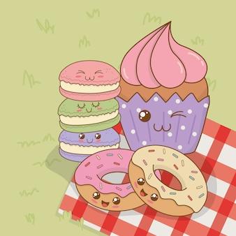 Sweet donuts and cupcake kawaii characters