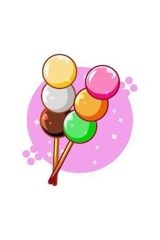 Сладкие пончики еда значок иллюстрации шаржа