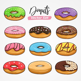 Sweet donuts hand drawing vector in big set collection.