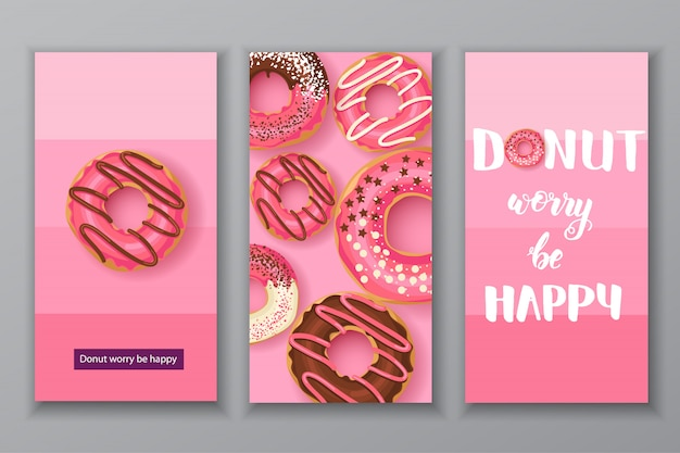 Sweet donuts illustration cards set. donut worry be happy lettering